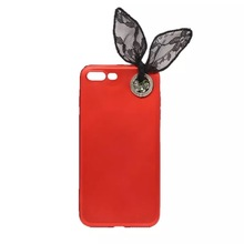 Korean fashion black bow case for iphone7 7plus 6 6s 6plus diamond lace rabbit ear soft silicone red beautiful cover