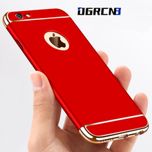 Fashion Matte Electroplate Case for iPhone 7 6 6S Plus 3 in 1 Back Full Cover Cases for iPhone 7 6 6S Red Phone Protective Case(China)