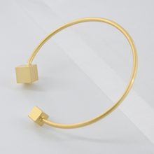 New Fashion Irregular Geometry Metal Open Bangle Arm Cuff for Women Men Cube Gold Color Charm Bracelet & Bangles Jewelry