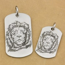Solid 316L Stainless Steel High Detail Deep Engraved Customized Mens Biker Rocker Punk Lion King Pendant Dog Tag 9X203 JP(China)