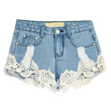 Summer Denim Shorts Women Sexy Lace Crochet Hollow Stitching Jeans Shorts Ladies Cotton High Waist Short Plus Size 32-42(China)