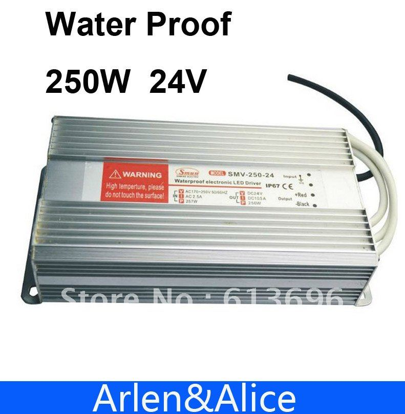 250W 24V 10.2A Water proof outdoor Single DC Output Switching power supply for LED SMPS<br>