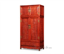 Flat Sliding Door Garderobe Rosewood Wardrobe Bed Room Solid Wood Furniture Wooden Drawers Closet Neoclassical Carving Armoire