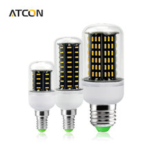1Pcs High Luminous Flux 4014 SMD No Flicker LED Corn Bulb E27 E14 220V LED lamp Spot light 38 55 78 88 140LEDs Smart Power IC