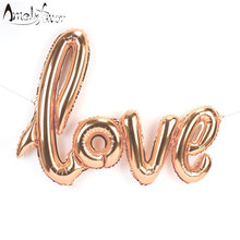 "43"" Giant LOVE Balloon Script Balloon Champagne Gold Balloon Champagn Gold Wedding Party Supplies Valentines Day Balloon Banner(China)"