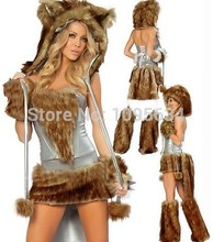 Free PP Adult Foxy Lady Fancy Dress Costume Sexy Animal Dog Puppy Ladies s Female Halloween Cosplay Costumes For Women