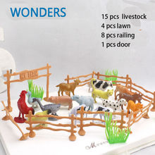 "15pcs/pack Farm Animals Toys  2"" Animal cow dog sheep goose  Family Farm Poultry Feed Fence Simulation Model toy for Children"