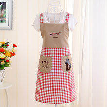 Hot Sale Men Women Cartoon Plaid Patchwork Apron Brand Design Waterproof Shoulder Strap Chef Kitchen Apron With Double Pocket
