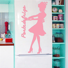 Poster opened the refrigerator door refrigerator girl room decoration vinyl wall stickers stickers funny kitchen decoration art(China)