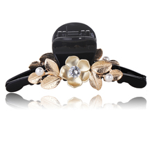 Fashion Black Acrylic Hair Claw Metal Flower Embellished Hair Clips Pearl Crystal Inlaying Hair Accessories(China)