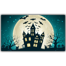 Halloween Poster Pumpkins, Black Cat, Witch's Broom Modern Cartoon Art Picture For Home Decoration Silk Poster and Prints QT078