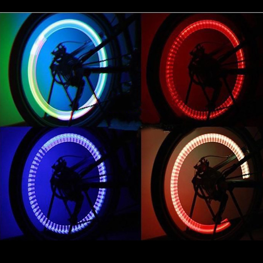 2pcs Night Light 7Color Bike Decoration LED Light Bicycle Accessories Tire Lamps