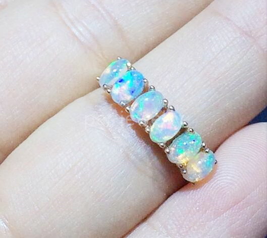 Natural opal ring Real original opal 925 sterling silver Free shipping Handworked rings Fine jewelry 0.2CT*6pcs gems #16102536