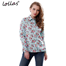 lollas New Women's Floral Print Blouses Cotton Shirts Women Vintage Turn-Down Collar Tops Ladies Work Long Sleeve Blouse(China)