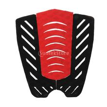 3piece Traction Surfboard Tail Pad Deck Grip Mat Shortboard Skimboard Decor - Black Red