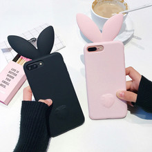 3D Cute Rabbit Ear Case For iPhone 7 7plus Soft Silicon For iPhone 6 6plus 6s 6splus 5 5S SE Cute Pink & Black Girl Cover(China)