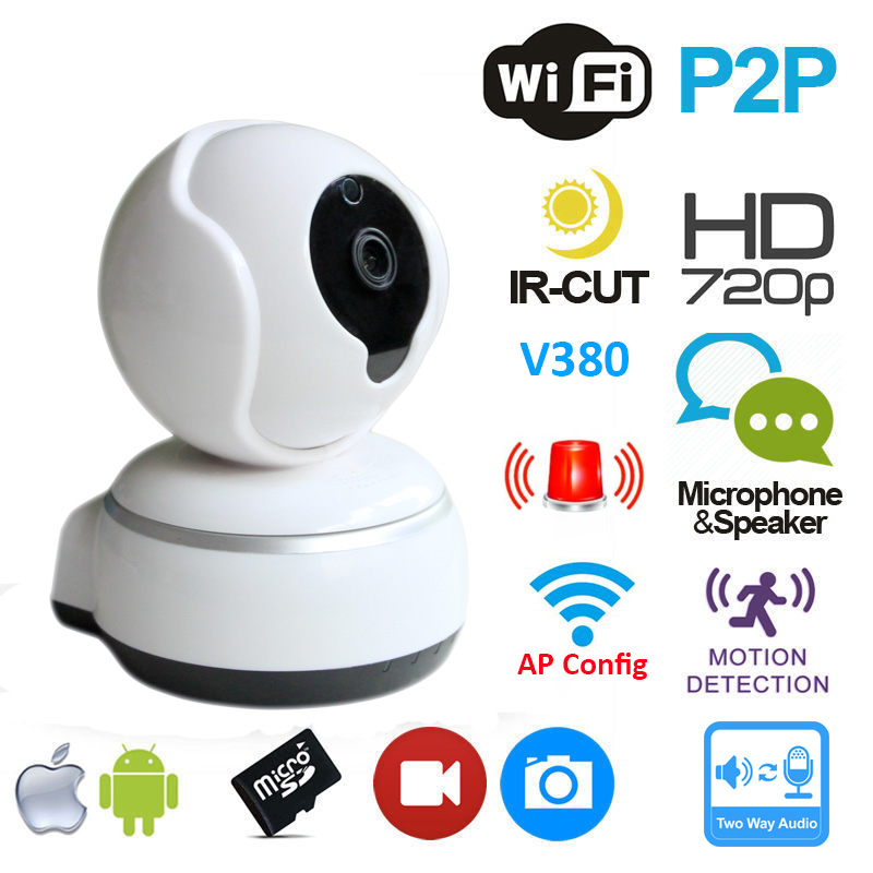 720P IP Camera Wifi Plug and Play Smart Camera Pan&amp;Tilt V380 App P2P Cloud Two Way Audio Hotspot Camera Wlan Kamera<br>