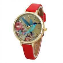 Relogios Blue Hummingbird Printing Pattern Amazing Looking Faux Leather Band Analog Quartz Movement Gifts my31