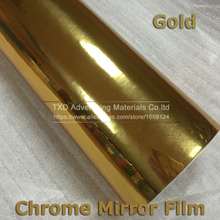 10/20/30/40/50/60CMX152CM/LOT Gold chrome Vinyl with air free bubbles for car body decoration Chrome mirro gold film free ship(China)