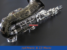 Black Nickel Body and Silver Keys Alto Saxophone Sax Eb key High F New Case,Lapis lazuli Buttons