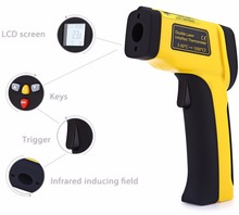 New LCD Display Digital Infrared Laser Thermometer Range -50-1050 Deg.C Temperature Laser Gun Industry Use Emissivity Adjustable