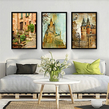 Retro Building Panoramic View Nordic Art Poster City Landscape Wall Painting Pretty Canvas Mural Picture Ornaments for Cafe Home