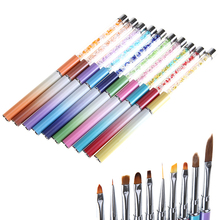 10 Ways Rhinestone Handle Nail Brush Pen Acrylic Crystal Gel Polish Tips Builder Coating Line Flower Paint Draw 3D Art Design