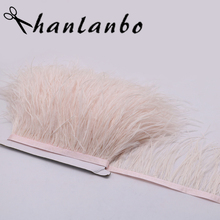 high quality 5meter dyed skin pink ostrich feather trims fringe natural ostrich feather trimming for skirt dress costume(China)