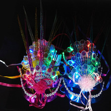 Venetian masquerade LED Party masks Colorful Fluorescent Peacock Raindrop Mask Flash Glossy Party peacock feathers Mask 2017