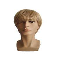 Blonde Wig Fei-Show Synthetic Heat Resistant Fiber Short Wavy Hair Male Man Hairpiece Black/Dark Brown/Light Brown