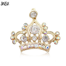 JINSE 20pcs/lot Big Alloy Crown With Czech Crystal Rhinestones Button Gold & Silver Color For Hair Flower DIY Accessory CR171