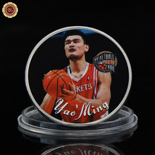 WR Famous Chinese Basketball Star Silver Plated Coin Yao Ming Commemorative Silver Coins Quality Professional Basketball Coin(China)