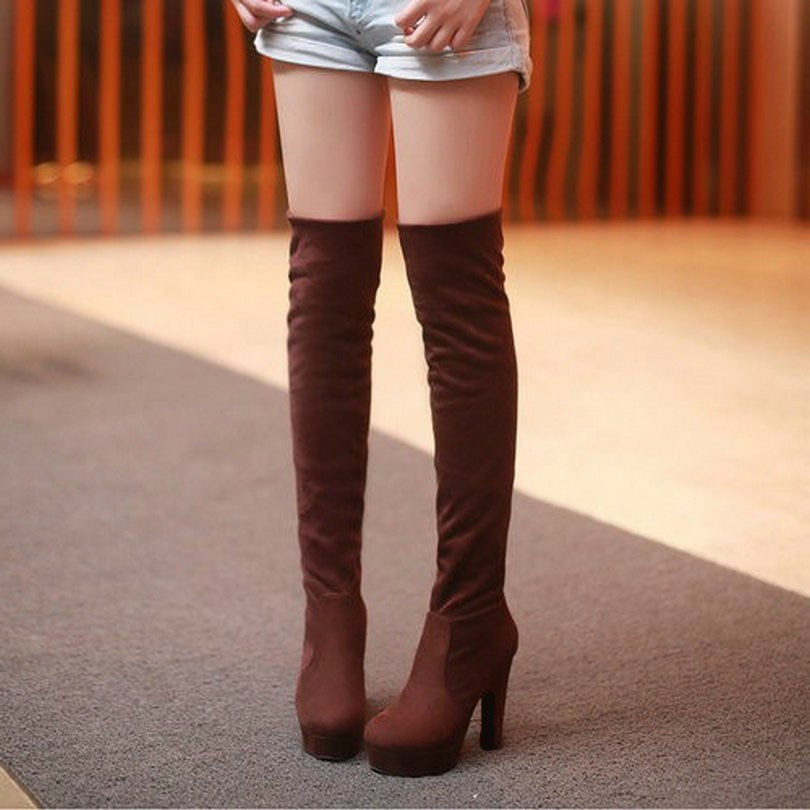 New Women's Boots, Sexy Fashion Over the Knee Boots, Sexy Thin Square Heel, Boot Platform Woman Shoes 38