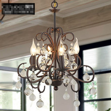 water droplets vintage crystal iron pendant light in the style of American country and brief French crystal lamps