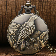 Antique Bronze Clock Awesome Standing Eagle Quarzt Pocket Watch With Necklace Chain Man Women Watches relogio de bolso antigo(China)