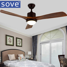 Sove 52 Inch Village Wooden Ceiling Fan With Lights Remote Control Attic Ceiling Light Fan Bedroom Home 220v Wood Blade Fan Lamp