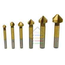 New 6pcs 90 Degree 3 flute Titanium Coated Chamfer Chamfering Edge Mill Cutter Wood Countersink Drill Drilling Bits Steel(China)