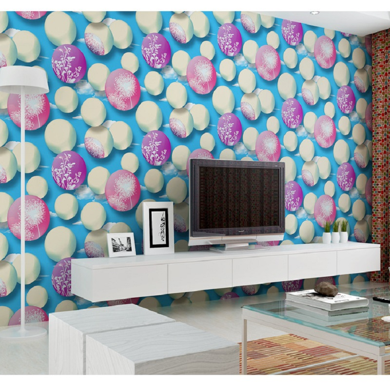 Wallpaper colorful bubble Textured Wall coverings Vintage decal for kid room wall paper &amp;Wall Paper papel de parede 53x1000CM<br>
