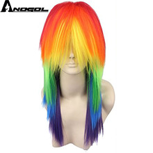 Anogol My Costume Little Pony Ponytail Style Rainbow Color Dash Yellow Pink Side Part Red Green Purple Cosplay Wig For Party(China)