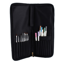 W Portable Oil Painting Brush Bag Watercolor Brush Case Durable Canvas Knife Paper Pen Case Drawing Set Bag(China)