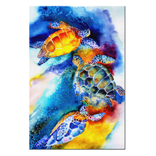 Watercolor Painting Of Sea Turtles Swimming Wall Art For Bedroom Contemporary Home Decor Canvas Print Poster Pictures