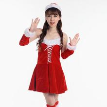 Cosplay Dress+Arm Sleeve+Hat Sexy Adult Women Fancy Costume Outfits Halloween Party Miss Santa Women Christmas Dress