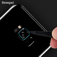 Besegad Tempered Glass Rear Camera Lens Metal Protective Ring Guard Cover Case Protector for Samsung Galaxy S8 S 8 Plus(China)