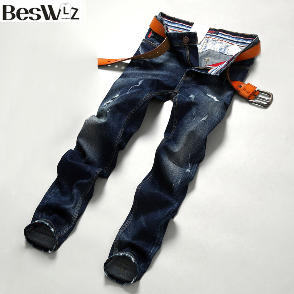 Beswlz Men Denim Jeans Straight Slim Male Jeans Pants Fashion Classical Casual Business Style Men Blue Ripped Jeans 9513Одежда и ак�е��уары<br><br><br>Aliexpress