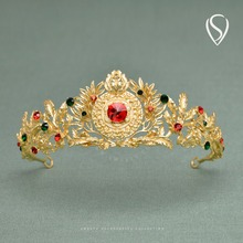 SWEETV Baroque Head Pieces for Women - Gold Crown Jeweled Tiara with Gems - Royal Hair Decorations for Party Festival Ceremony