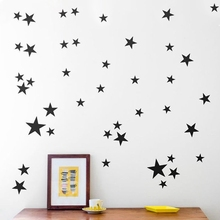 Gold Stars Pattern Vinyl Wall Art Decals Nursery Room Decoration Wall Stickers for Kids Rooms Home Decor(China)