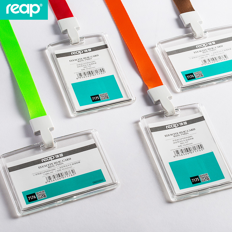 Reap 7175 85*54mm acrylic ID Card Holder Clear Vertical or horizontal style for Office ID Name Tags and Badge Holder