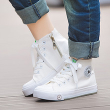 Toddler Child Canvas High Top Shoes Kids White Breathable Sneakers Shoes Boys Girls Sport Lace Up Shoes Flat Boots Size 24 37