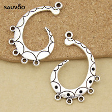 SAUVOO 5 Chandelier Antique Silver Color 5 hole 4 loop Ornate Pendant Charms Hooks Multi-strand Jewelry Connector Links DIY(China)