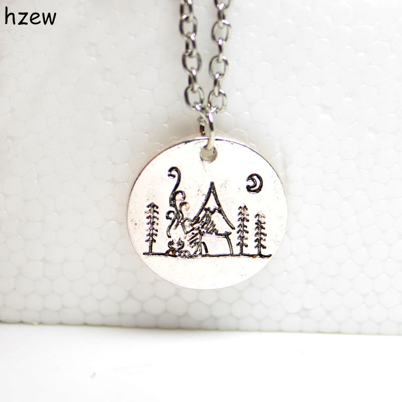hzew 1pcs Lovely Fashion mountain necklace nature pendant Camping under a big bright moon Lover Gift Live the simple life(China (Mainland))
